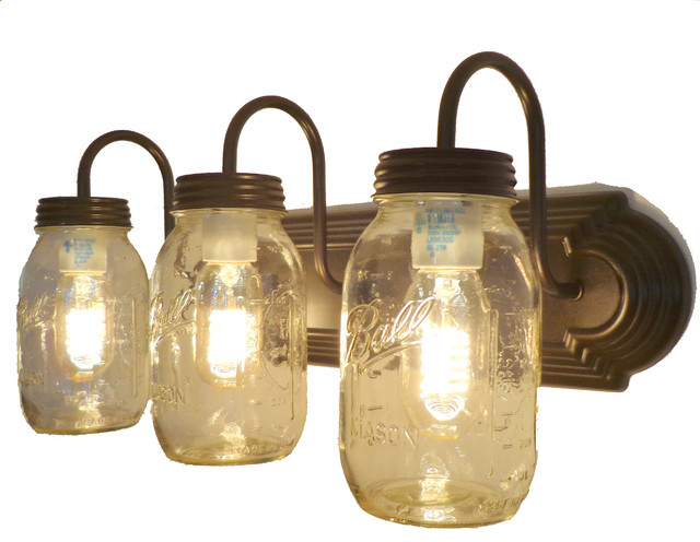 The Lamp Goods - New Quarts Trio Mason Jar Vanity Light, Oil Rubbed Bronze - - Mason Jar Light Fixture Houzz