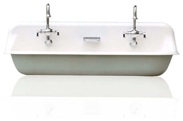 Farmhouse Trough Sink : ... Farm Sink Cast Iron Porcelain Trough Sink Package Green Blue farmhouse