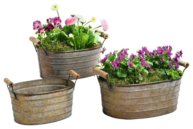 Metal planter tubs with wooden handles set of 3 rustic for Tin tub planters