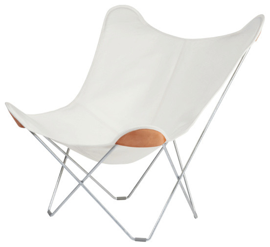 Cuero Design Canvas Mariposa Outdoor Chair, White, Galvanized Frame