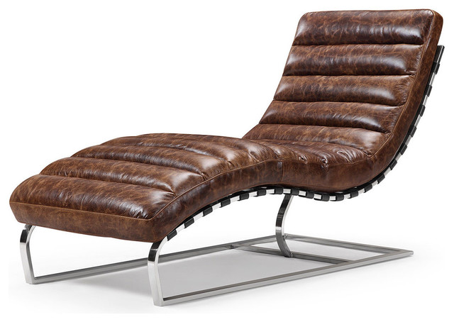 vintage leather chaise lounge contemporary indoor