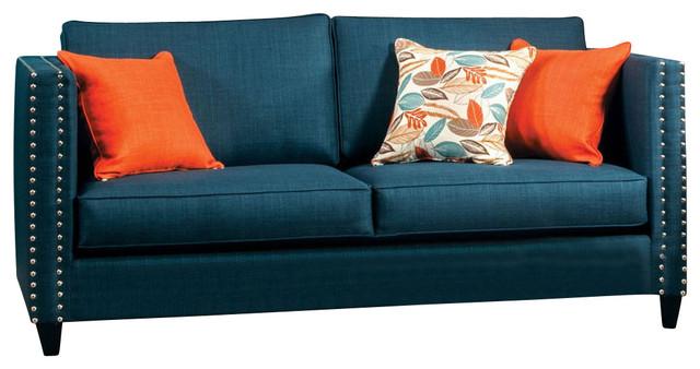 Turqouise Blue Fabric Sofa Nailhead Trim.