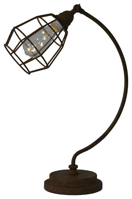 Antique Rust Caged Desk Lamp.