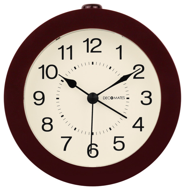 Decomates Non Ticking Silent Small Wall And Desk Alarm Clock Timeless Brown