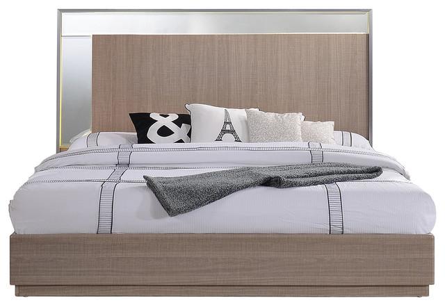 . Midcentury Modern Taupe Bronze Bed  Queen