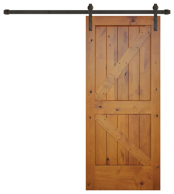 Prefinished Knotty Alder K Panel V Groove Barn Door Bronze Hardware Interior Doors By