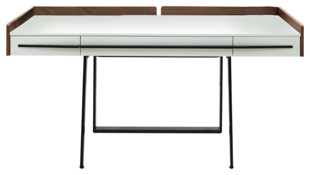 Modrest Branton Contemporary White & Walnut Office Desk.