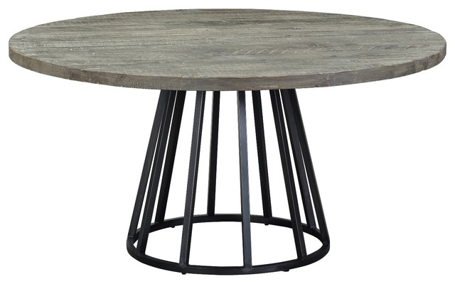 Knox 60 Round Dining Table Storm Gray Reclaimed Wood