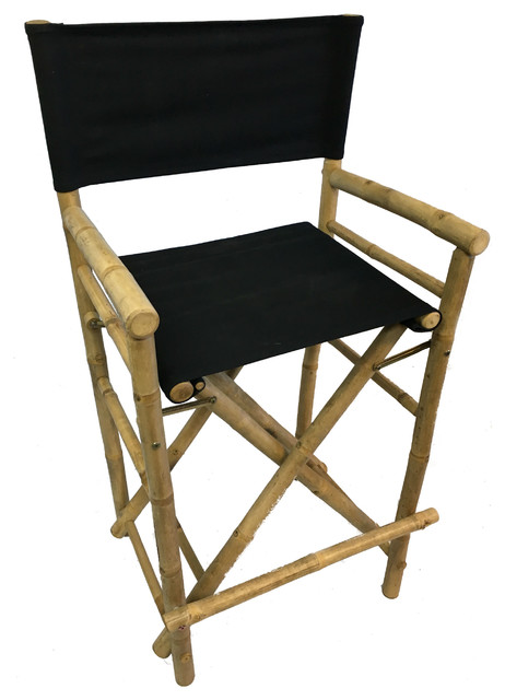 Bar Height Bamboo Director Chairs, Black Canvas Asian Bar Stools And