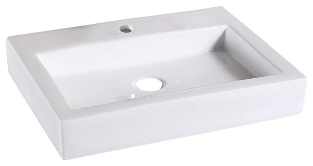 "Flat Rectangular Ceramic Bathroom Vessel Sink, 24"", Without Drain"