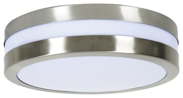 Atlantis 2 light low energy round flush mount in white for Fixture exterieur
