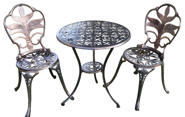 Antiqued Bronze Bistro Set, Table And 2 Chairs For Yard, 3 Pieces.
