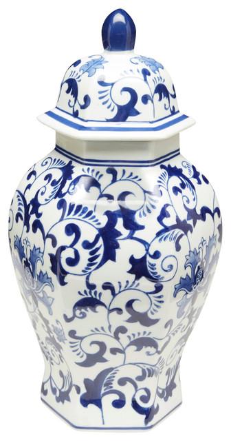 """14"""" Hexagon Blue & White Ginger Jar"""