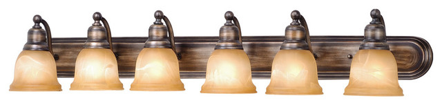 Lasalle Bath Lighting 48 6-Light, Parisian Bronze And Amber Alabaster Glass.
