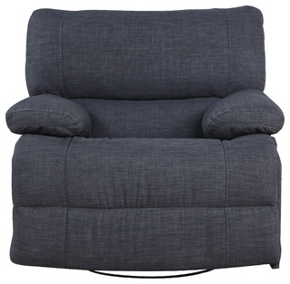 Classic and Traditional Dark Gray Fabric Oversize Recliner