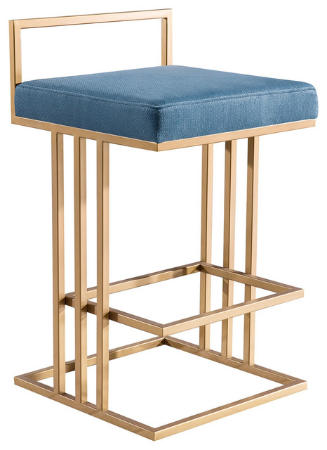Terrific Blue Counter Stool Contemporary Modern Glam Art Deco Gold Counter Stool Caraccident5 Cool Chair Designs And Ideas Caraccident5Info