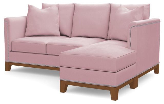 La Brea Reversible Chaise Sofa, Blush Velvet
