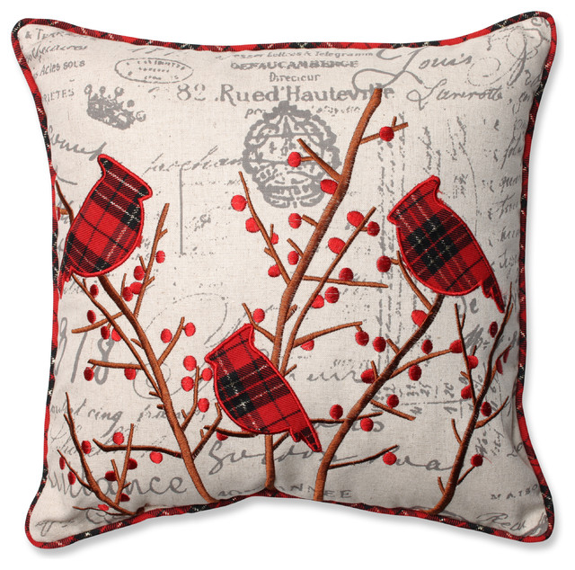 Holiday Embroidered Cardinals Throw Pillow.