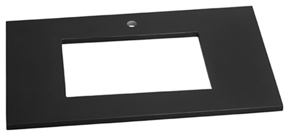 """Ronbow Techstone Vanity Top With Undercounter Basin Cutout, Broad Black, 25""""x22""""."""