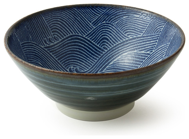 Aranami Noodle Bowl Blue 7 Asian Dining Bowls on farmhouse living room