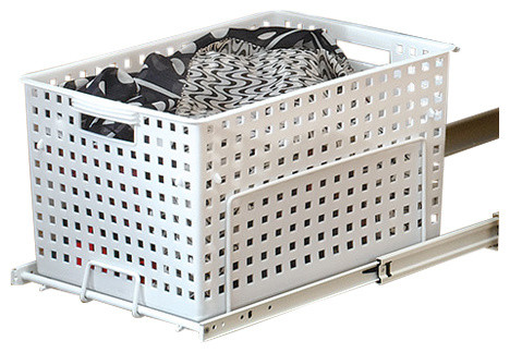 White Polymer Pull-Out Hamper/utility Basket With Full-Extension Slides.