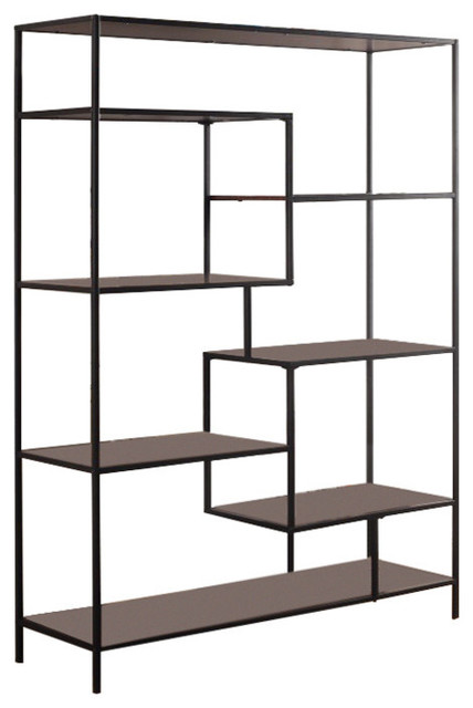 Contemporary Metal Framed Bookcase With Open Shelves, Black And Brown.
