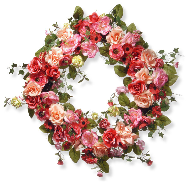 "32"" Mixed Rose Spring Wreath."