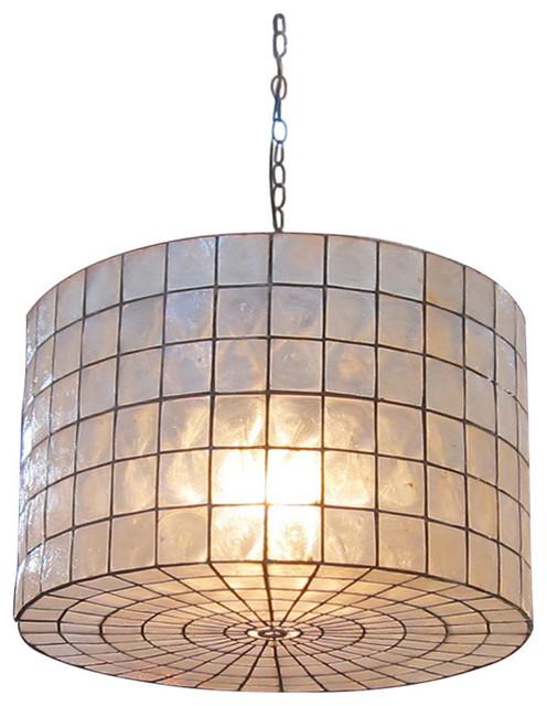 Capiz Shell Drum Hanging Lantern.