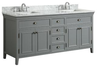 "Broden Gray Bathroom Vanity With Carrara Marble Top, 72"""