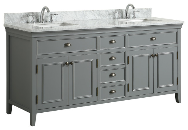 "Broden Marble Top Gray Bathroom Vanity, 72""."