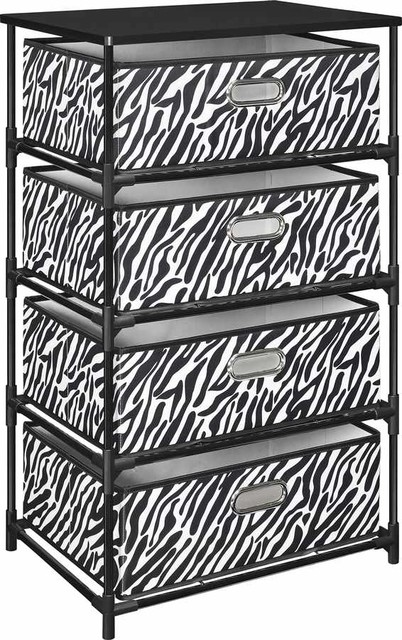 Awesome 4 Drawer Bin Storage Unit With Zebra Print In Black  Contemporary Accent Chests