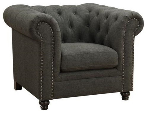Roy Traditional Button Tufted Chair With Rolled Arms And
