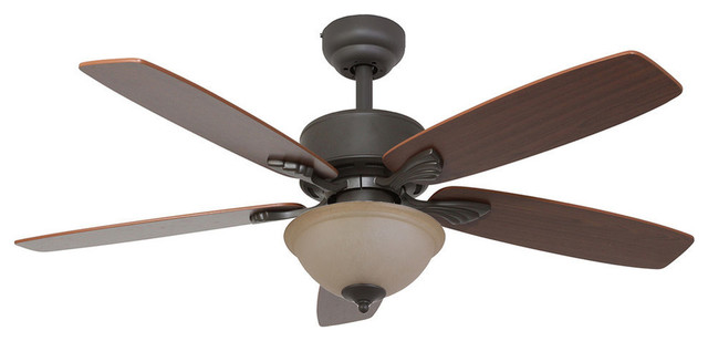 52 Torrington Bronze Indoor Ceiling Fan With Remote Control And Bowl Light.