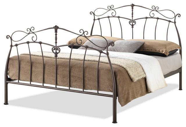 selena queen size antique bronze metal platform bed beds