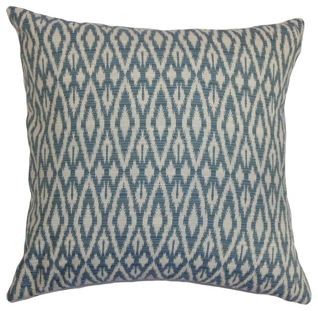 Decorative Denim Pillows : Hafoca Ikat Pillow Denim - Contemporary - Decorative Pillows - by The Pillow Collection