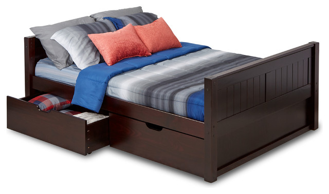 Camaflexi Full Size Platform Bed With Drawers, Panel Headboard, Cappuccino.