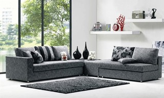Modern Denim Blue Fabric Sectional Sofa Set