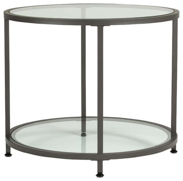 Camber Round Side Table, Pewter And Clear Glass Modern Side Tables And