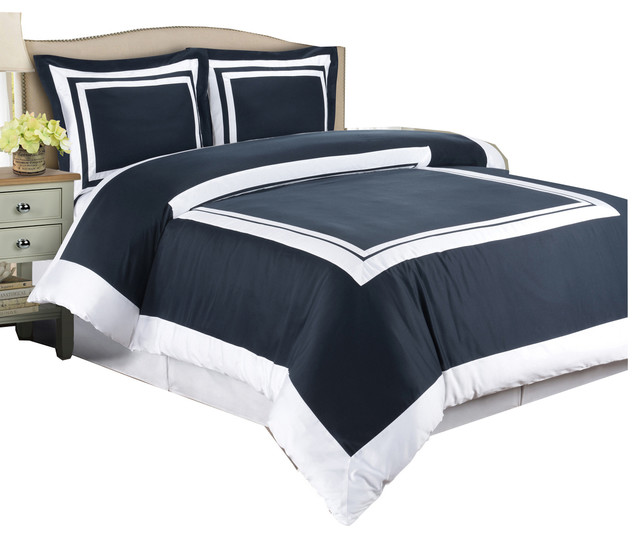 hotel cotton duvet cover set navy and white fullqueen