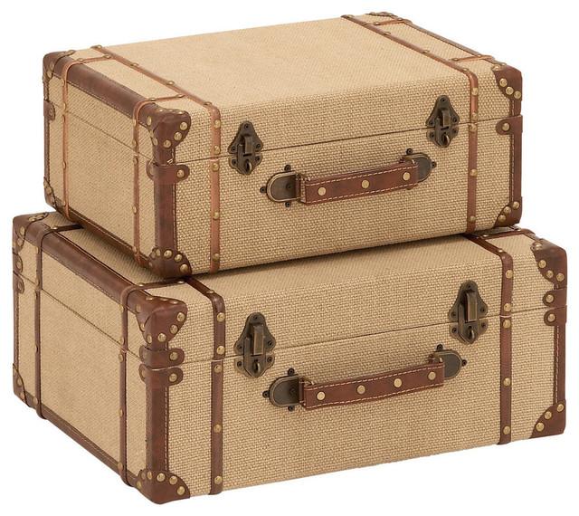 Wood Burlap Suitcase, 2 Piece Set Modern Storage Bins And