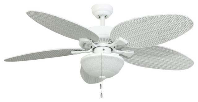 "52"" Seagrove White Outdoor Ceiling Fan With Wet-Rated Globe Light."