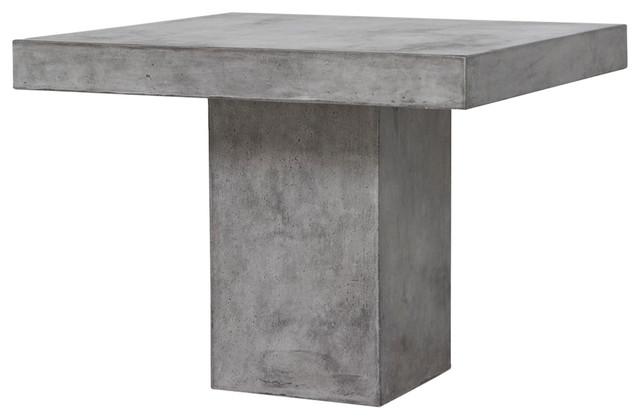 Modrest Yem Concrete Square Dining Table, Gray