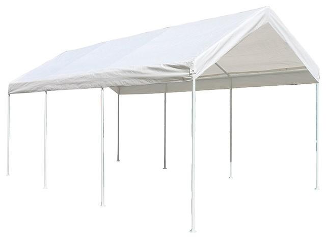 Aleko Cp1020ns Steel Frame Carport, Gazebo Polyethylene Tent, White, 10&x27;x20&x27;.