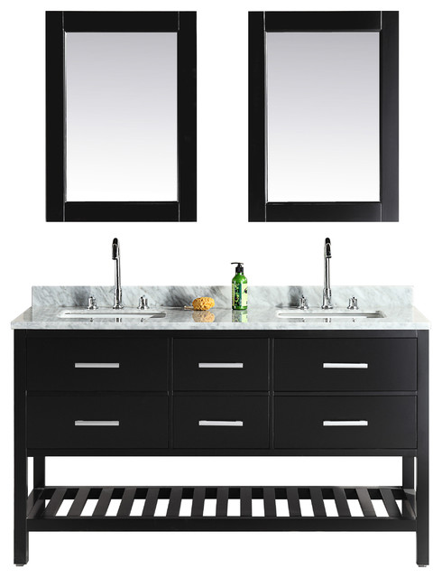 Design Elements London 61 Quot Double Sink Vanity Set Espresso Open Bottom Bathroom Vanities And