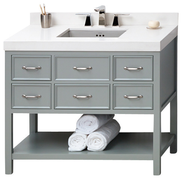 Shop houzz ronbow corp ronbow newcastle solid wood 42 vanity cabinet base in ocean gray Solid wood bathroom vanities cabinets