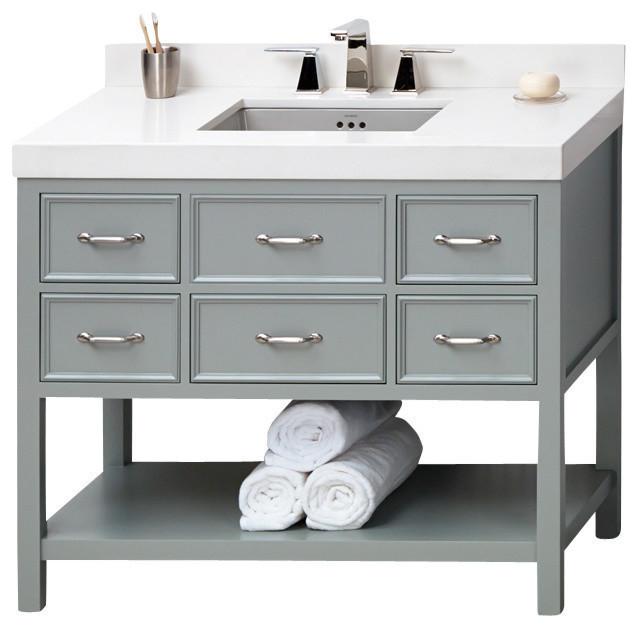 Ronbow Newcastle Solid Wood 42 Vanity Cabinet Base Ocean Gray Transitional Bathroom