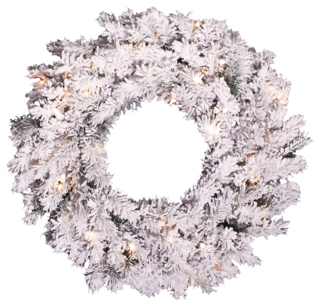 Pre-Lit Flocked Alaskan Pine Artificial Christmas Wreath, Dura Lights, 24.