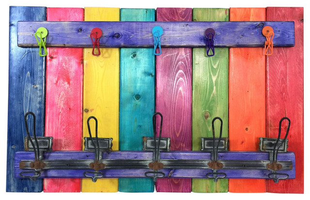Bright Multi Colored Towel Holder Coat Rack Wall Hooks.