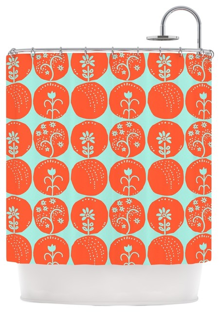 orange and navy shower curtain. Anneline Sophia  Dotty Papercut Orange Circles Teal Shower Curtain contemporary shower curtains