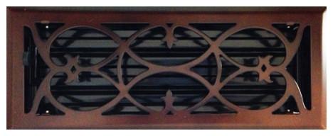 """Oil Rubbed Bronze Victorian Steel Floor Register, 4""""x12""""."""